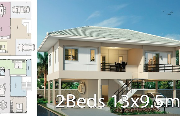 House design plan 13×9.5m with 2 bedrooms