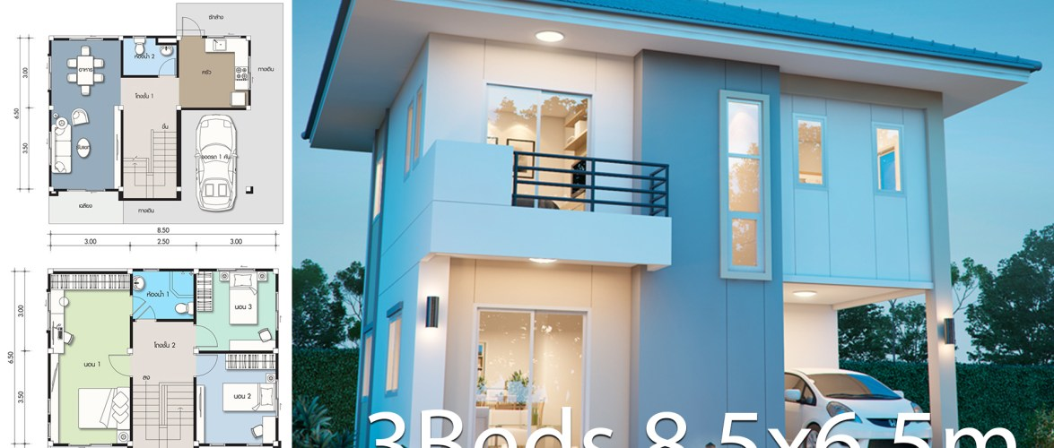 House design plan 8.5×6.5m with 3 bedrooms