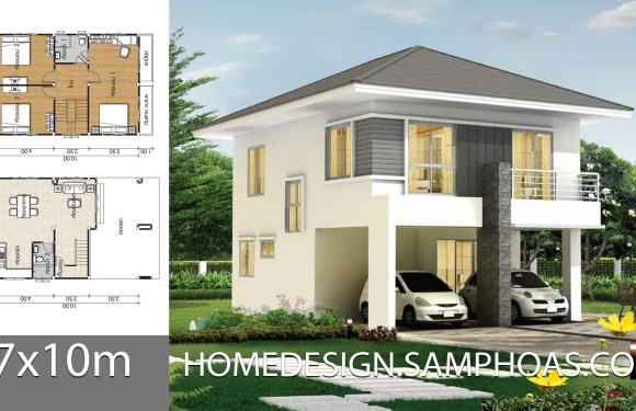 Home design plans 7x10m with 3 bedrooms