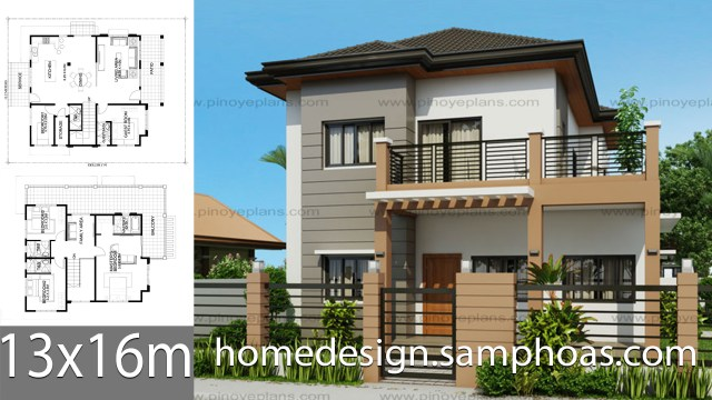 House-Design-Plans-13x16m-with-5-Bedrooms
