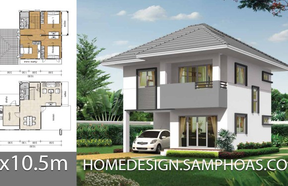 House design plans 8×10.5m with 3 bedrooms
