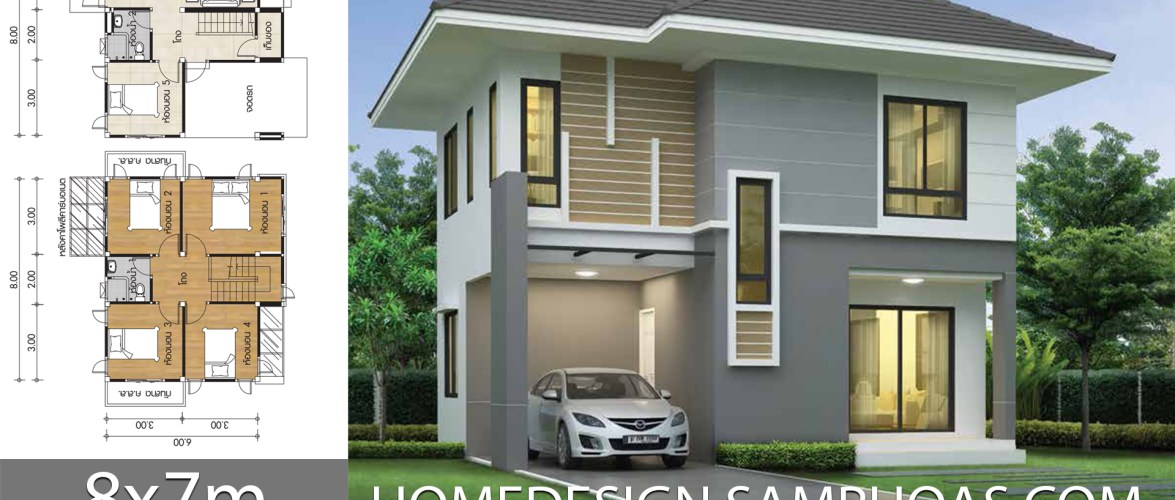 Small House Plans 7x8m with 5 Bedrooms
