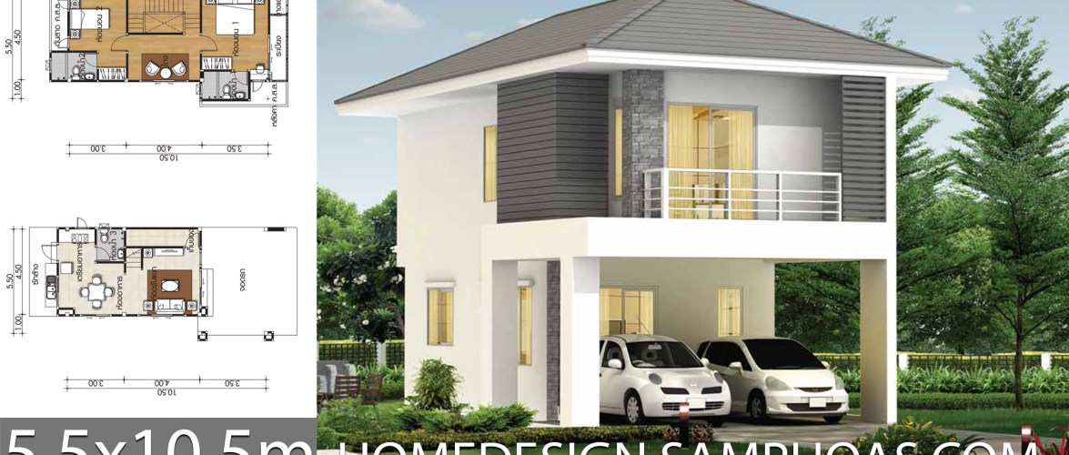 Small House plans 5.5×10.5m with 2 bedrooms