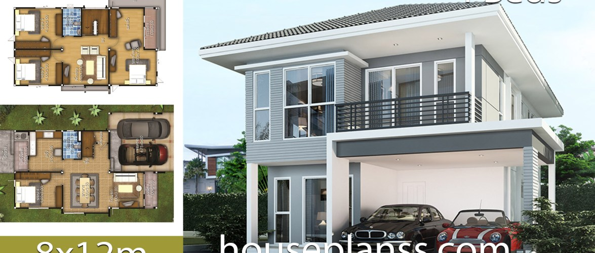 House design Plans idea 8×12 with 4 bedrooms