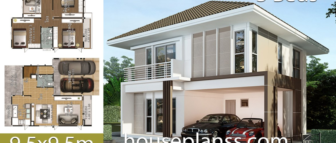 House Design Plans idea 9.5×9.5 with 3 bedrooms