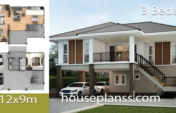 House Plans Design 12×9 with 3 bedrooms
