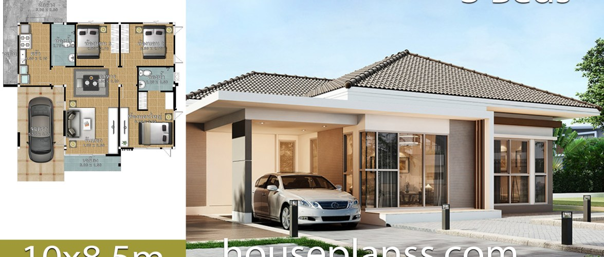 House design Plans Idea 10×85 with 3 Bedrooms