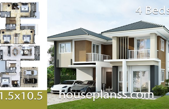 House design Plans Idea 11.5×10.5 with 4 bedrooms