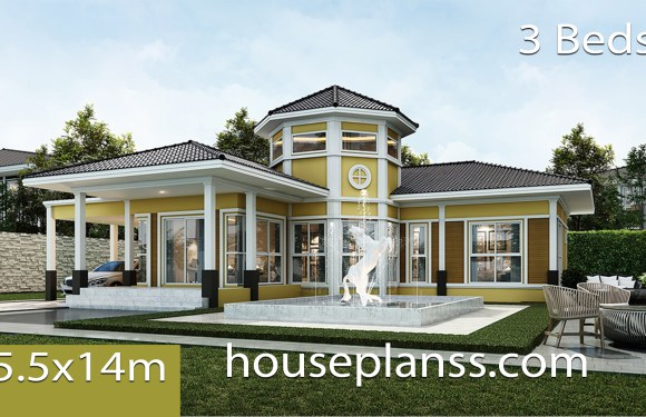 House design Plans 15.5×14 with 3 bedrooms