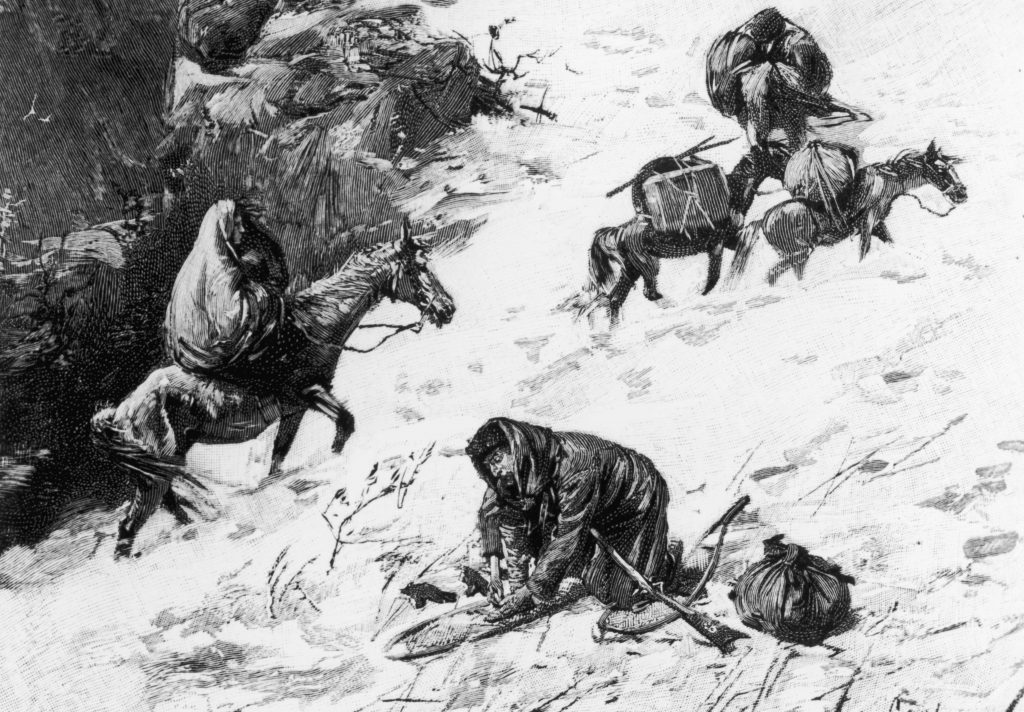 Illustration captioned 'On The Way To The Summit,' depicting the Donner Party, a group of California-bound American emigrants caught up in the 'westering fever' of the 1840s. After becoming snowbound in the Sierra Nevada in the winter of 1846/1847, some of them resorted to cannibalism. USA, circa 1846. (Photo by Fotosearch/Getty Images).