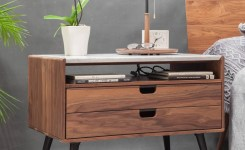 Bedroom Decor Models With Solid Wood Tables With Beautiful Drawers Beside 3