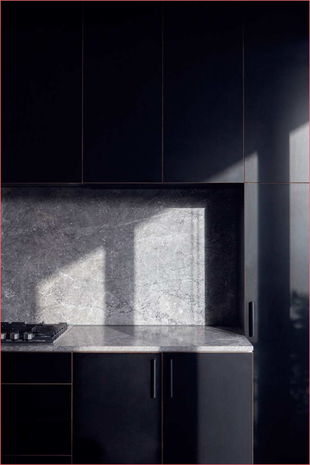 black modern kitchen with grey stone bench and splashback on black and grey kitchen on black and grey kitchen post on 2020-11-21 15:53:52