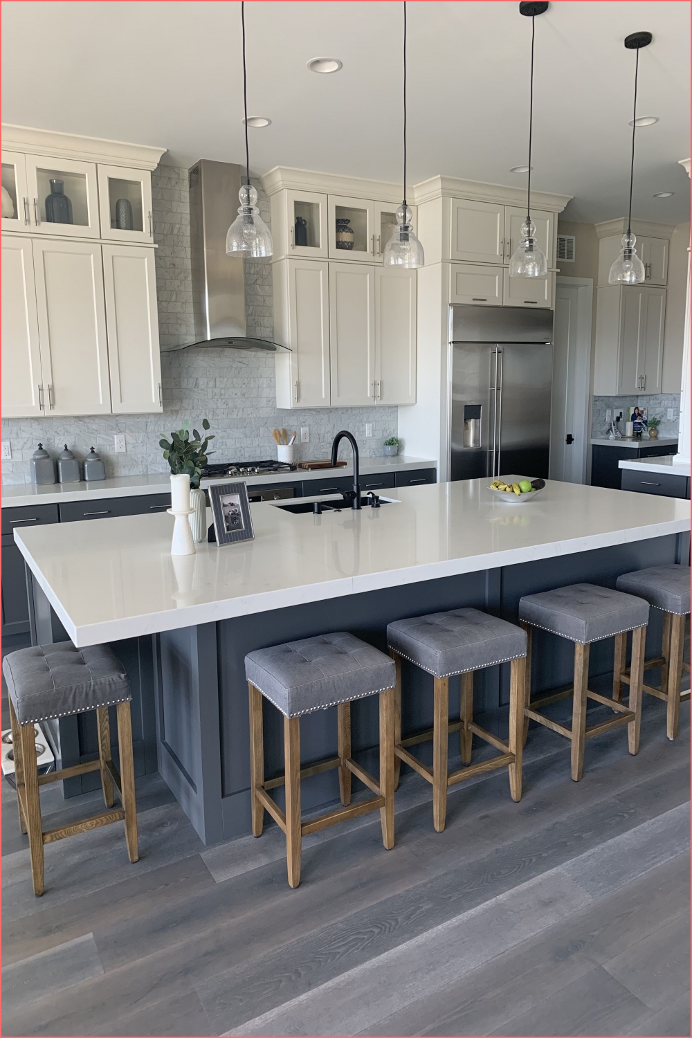 Modern Farmhouse White upper cabinets dark grey lower and on black and grey kitchen on black and grey kitchen post on 2020-11-21 15:53:52