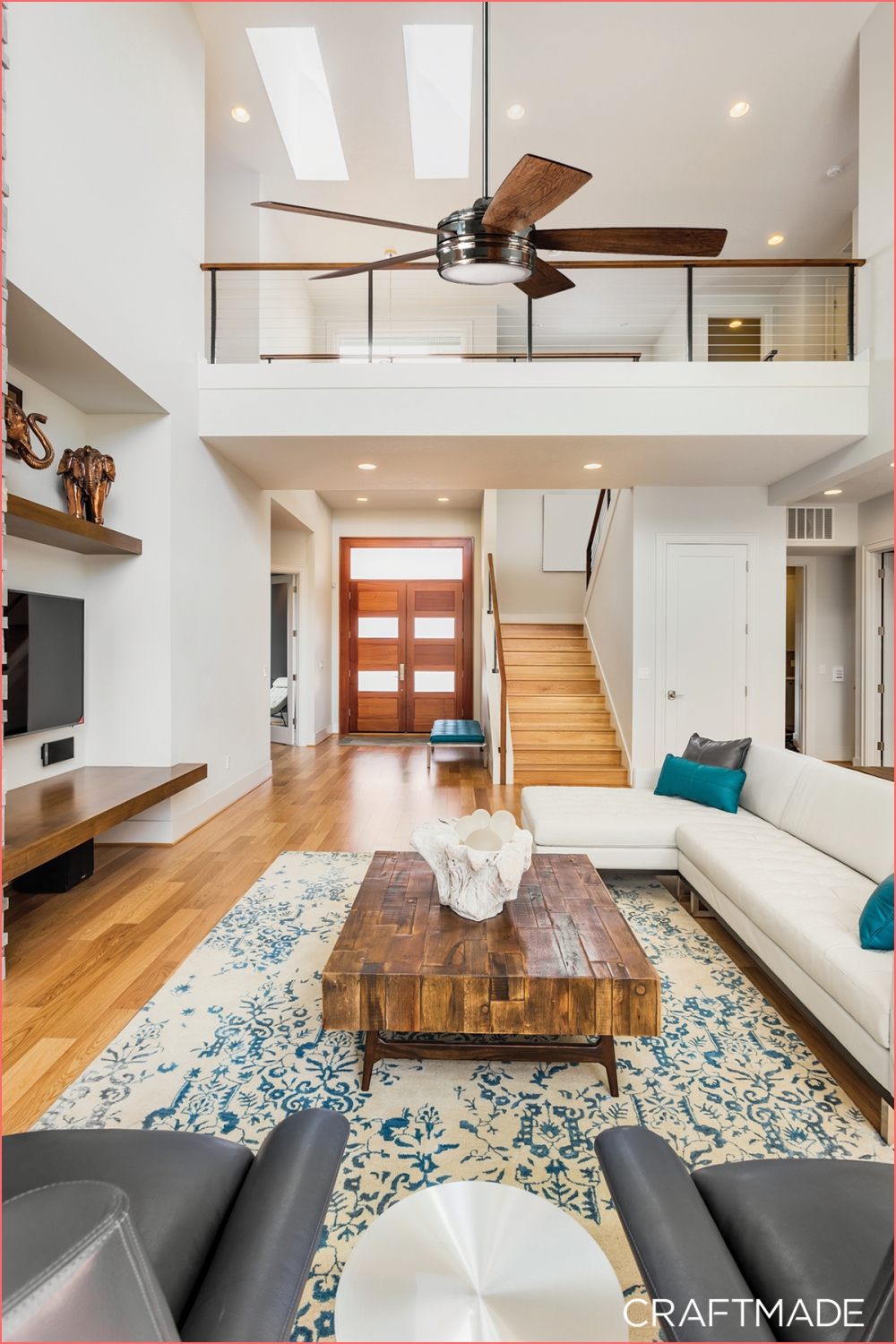 The Braxton by Craftmade s 5 blade fan beautifully on minimalist high ceiling living room design on minimalist high ceiling living room design post on 2020-11-21 16:13:05
