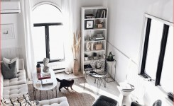 White Living Space With High Ceilings And Monochromatic On Modern Monochromatic Living Room Of Modern Monochromatic Living Room