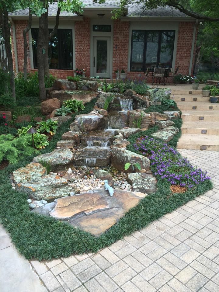 Pondless Waterfalls for the Oklahoma Landscape | Pond ... on Front Yard Waterfall Ideas id=20910