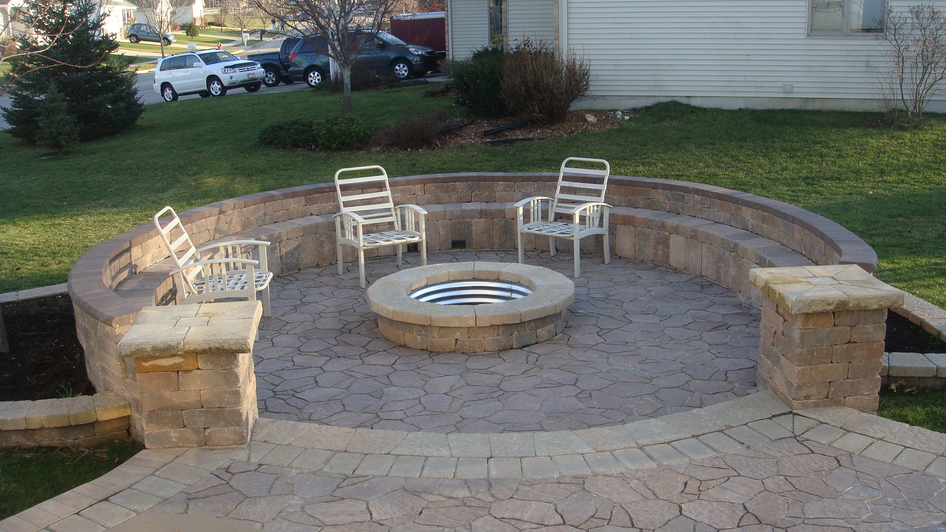 Patio Pavers | Patio Paver Ideas | Madison WI | Marvins ... on Paver Patio Designs With Fire Pit id=85708