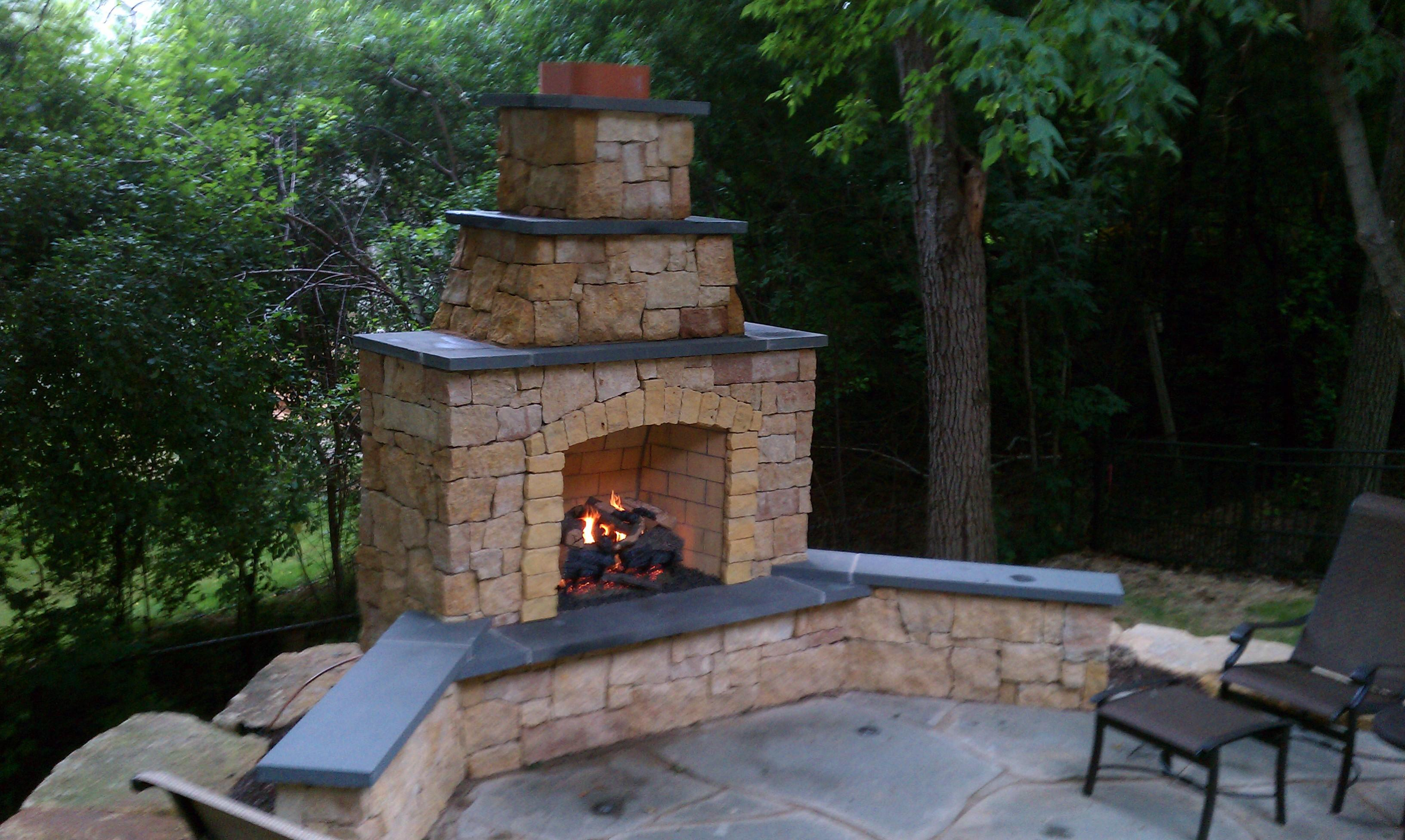 Kasota Outdoor Fireplace with Bluestone Caps and Gas Log ... on Outdoor Gas Fireplace For Deck id=64908