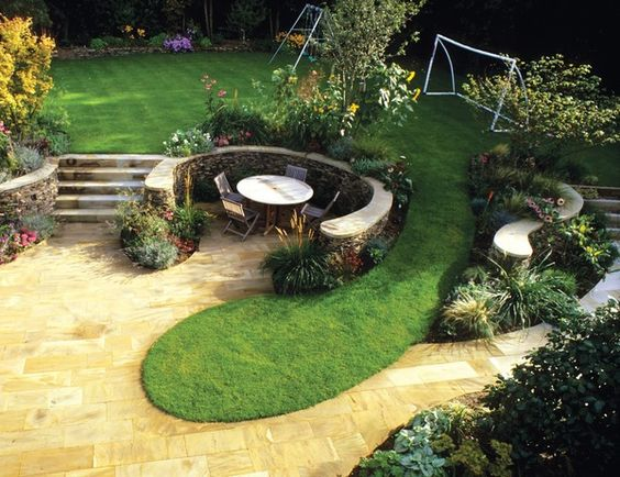 split level landscaping with steps, play area for the ... on Split Garden Ideas id=69464