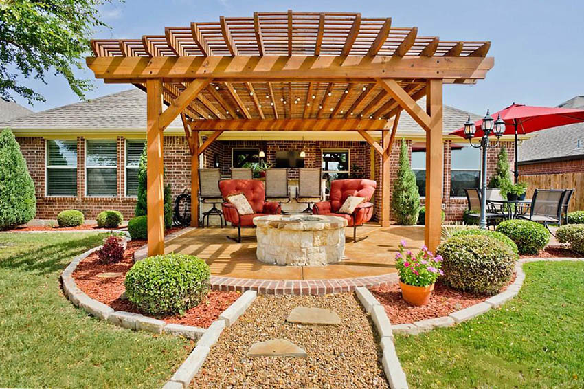 Pergola with Fire Pit (Backyard Designs) - Designing Idea on Backyard Patio With Firepit id=55576