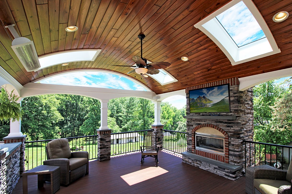 Covered Back Porch Ideas & Designs | Chester & Lancaster ... on Covered Back Deck Designs id=14948