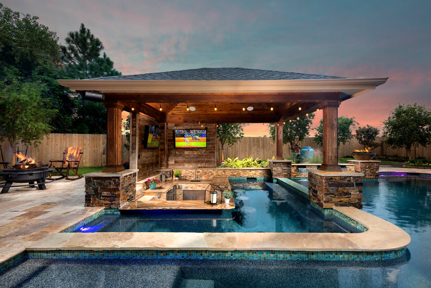 Outdoor Living Photos Houston | Outdoor Kitchen League City on Outdoor Kitchen With Pool Ideas id=75554
