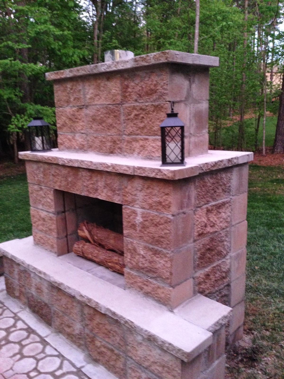 Life in the Barbie Dream House: DIY Paver Patio and ... on Diy Outside Fireplace id=64526