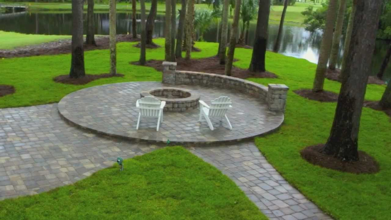 Ponte Vedra Paver Patio Design and Construction with Seat ... on Backyard Brick Patio id=38071