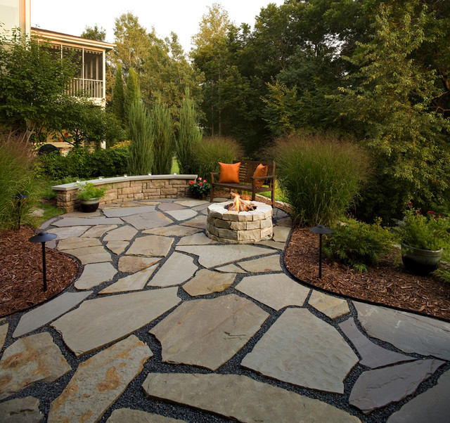 Flagstone Patio and Natural Stone Fire Pit - Traditional ... on Pebble Patio Ideas id=70253
