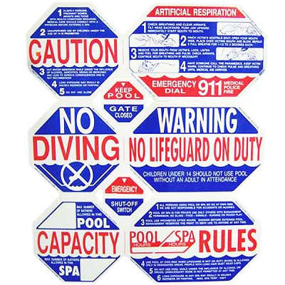 8-Way California Swimming Pool Safety Sign TGPS1001