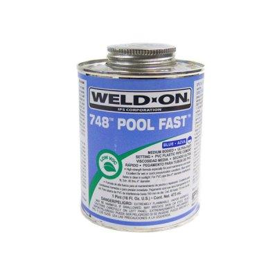 IPS Pool Fast PVC Glue Blue Weld-On 748 1 Quart 13342