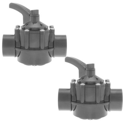 Hayward 2-2.5 in. PVC Diverter Valve 2 Port PSV2S2DGR - 2 Pack
