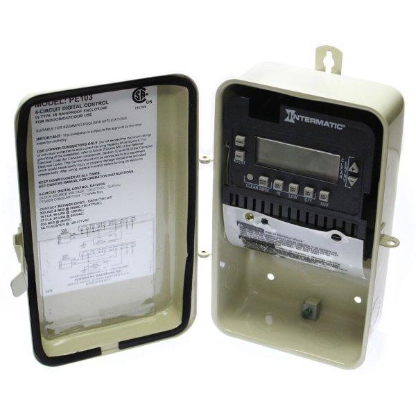 Intermatic 120-240V Auto Seasonal Adjust Digital Timer PE103