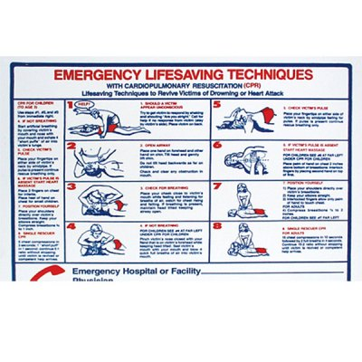 "Pool Sign Emergency Life Saving Techniques CPR 24"" x 18"" B8710"