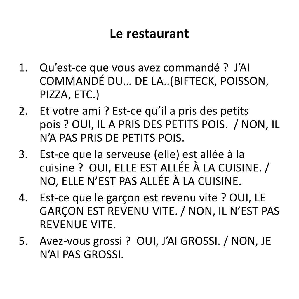 French Passe Compose Speaking Activity