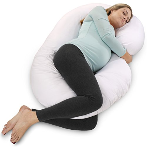 41bRWmED7CL - PharMeDoc Total Body Pregnancy Pillow - The World's MOST Comfortable & Relaxing Maternity Cushion With Zipper For Easy Use - Full Body Support, No More Aches, No More Restless Nights - J Shaped