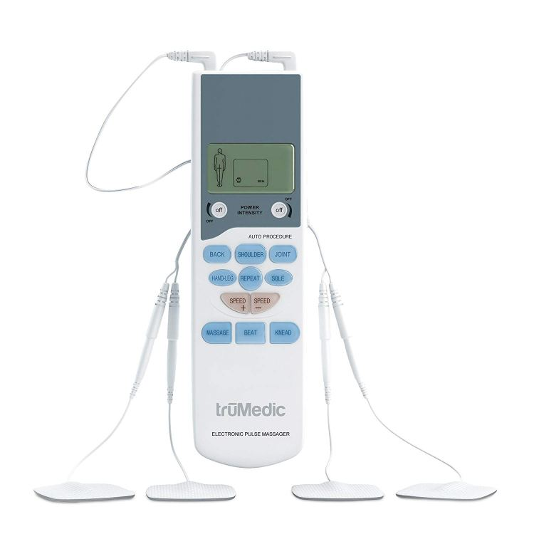 TENS Electronic Pulse Unit & 4 Electrode Pads, Model # PL-009, For Muscle Stiffness, Soreness, Aches & Pains, Perfect for Relaxing Tight Muscles & Nerves, By TruMedi