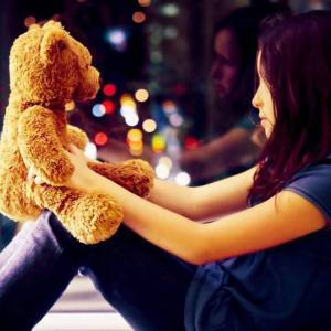 sad and alone girl with teddy bear facebook profile pictures