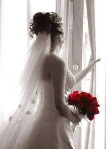 beautiful bride with red rose facebook profile picture