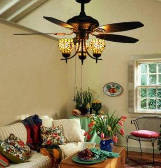 Choose Best Looking Ceiling Fans Suit Unique Taste   Styles Makenier Vintage Tiffany Style Stained Glass 3 light Flowers Uplight  5 blade Ceiling Fan