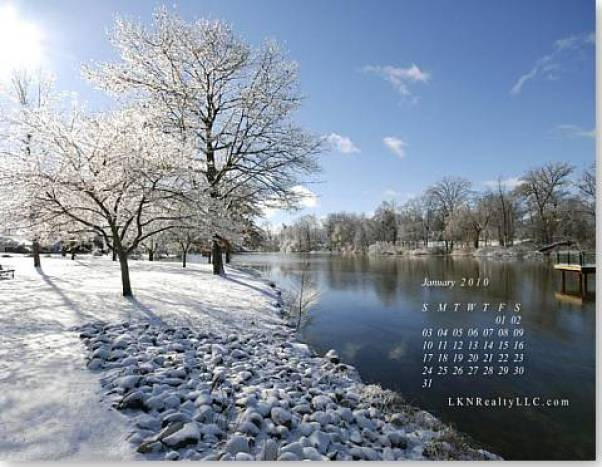 Lake Norman Real Estate's Jan2010 Wallpaper Calendar Preview