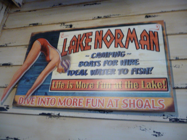 Lake Norman sign in Shoals Restuarant