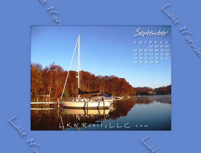 Lake Norman calendar with sailboat