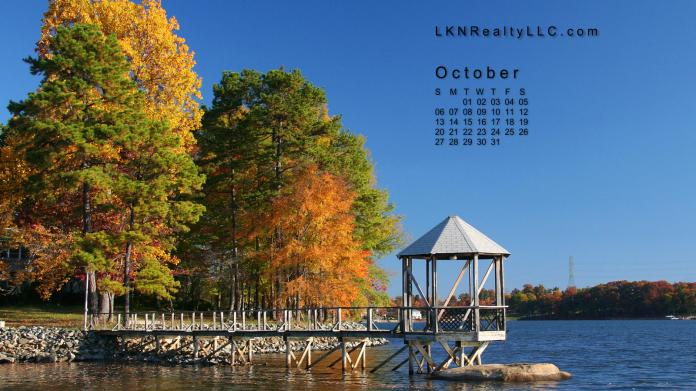 Lake Norman Waterfront home with fall colors