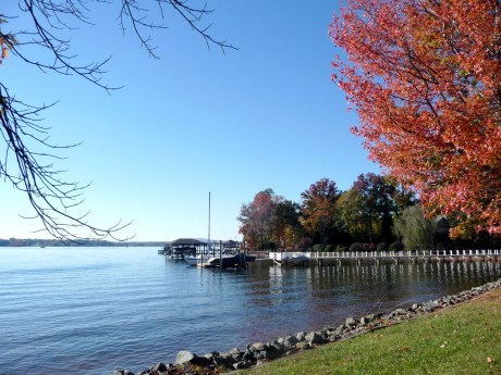 Lake Norman waterfront in the fall