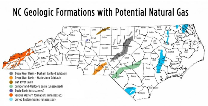 North Carolina geologic formations map