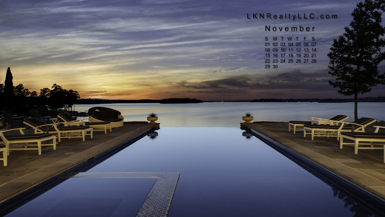 Lake Norman Sunset and Infinity Pool are November 2015's Calendar Image