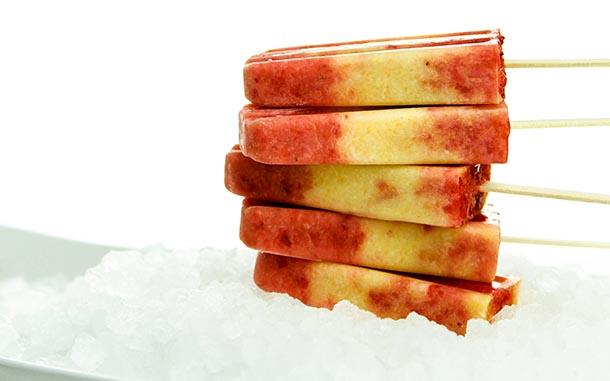 Peach Strawberry Pops