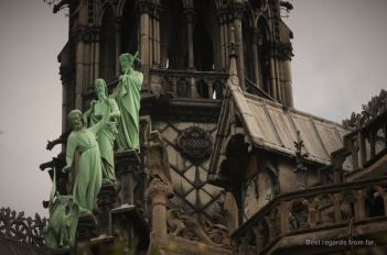 Close up on the Apostles on the roof of Notre Dame de Paris