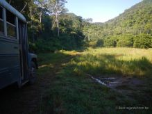 US school buses get a second life in the jungle, where we started our hike
